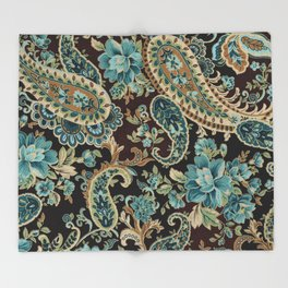 Brown Turquoise Paisley Throw Blanket