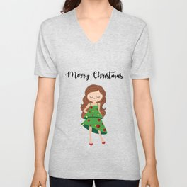 I am a Christmas Girl - Christmas tree inspired Unisex V-Neck