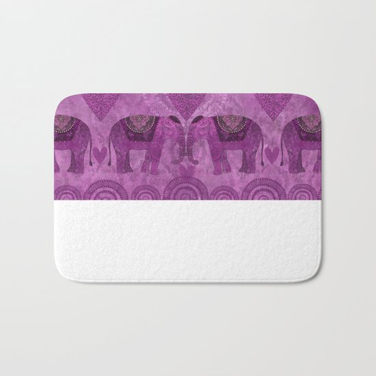 Elephants in Love pink heart artwork Bath Mat