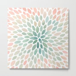 Floral Bloom, Abstract Watercolor, Coral, Peach, Green, Floral Prints Metal Print