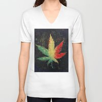 marijuana V-neck T-shirts featuring Marijuana by Michael Creese