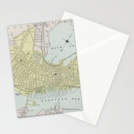 Vintage Map of Portland Maine (1889) Stationery Cards