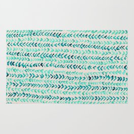 Hand Painted Herringbone Pattern in Mint Rug