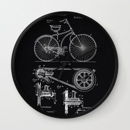 Vintage Bicycle patent illustration 1890 Wall Clock