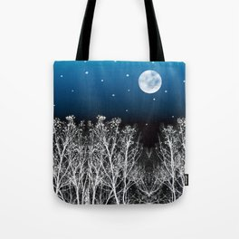 White Woods Moon Tote Bag
