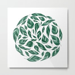 Circle of Leaves in Green Metal Print