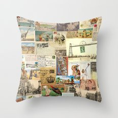 Send Me All Your Love  |  Vintage Postcards Throw Pillow