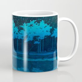 Vintage Japanese Woodblock Print Blue Forest At Night White Moonlight Mystical Trees Coffee Mug