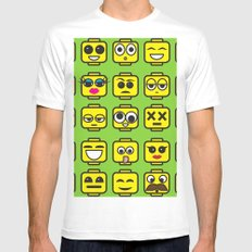 Yellow Cartoon Faces on Green Background White MEDIUM Mens Fitted Tee