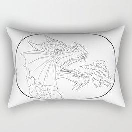 Dragon Fire Circle Drawing Rectangular Pillow