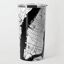 New York City White on Black Travel Mug