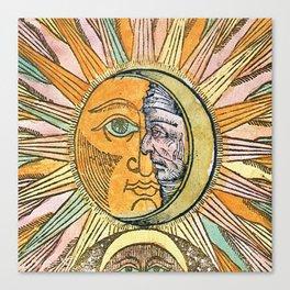 Sun and Moon Face Canvas Print