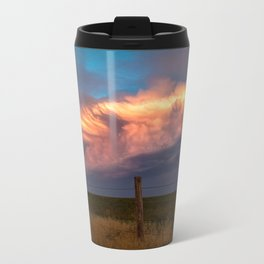 Dreamy - Storm Cloud Bathed in Sunlight at Dusk in Western Oklahoma Travel Mug