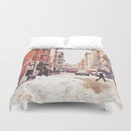 New York City Snow Soho Duvet Cover