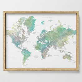 Watercolor world map in muted green and brown Serving Tray