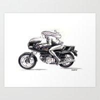 Retro Moto Girls - Pantah Art Print