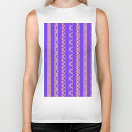 Contemporary African Style Abstract Stripes Biker Tank