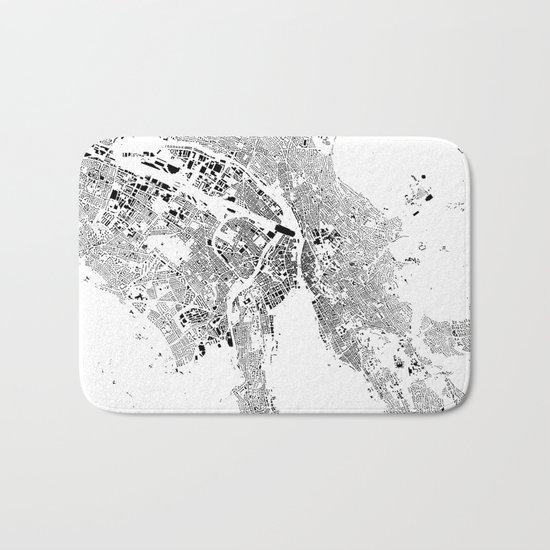 Zurich Schwarzplan Map Only Buildings Bath Mat