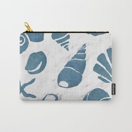 Azure South pacific sea shells - white marble Carry-All Pouch