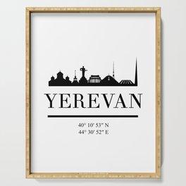 YEREVAN ARMENIA BLACK SILHOUETTE SKYLINE ART Serving Tray