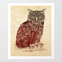 ornate Art Prints featuring Most Ornate Owl by Rachel Caldwell