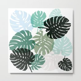 Tropical Monstera - green Metal Print