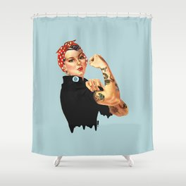 Tattooed Rosie the Riveter Shower Curtain
