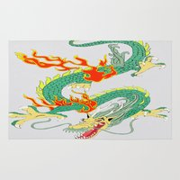 chinese Area & Throw Rugs featuring Chinese Dragon by J&C Creations