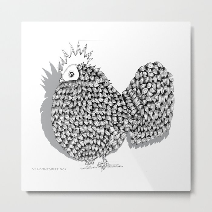 Zentangle  Funky Chicken Illustration Metal Print
