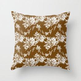 Brown Seaweed Pattern Throw Pillow