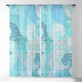 Mermaid Waves And Sea Faux Glitter - Sun Light Over The Ocean Sheer Curtain