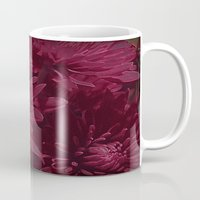 burgundy Mugs featuring Burgundy Chrysanthemums by Judy Palkimas