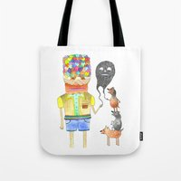 good omens Tote Bags featuring Omens by Dennis Pomales