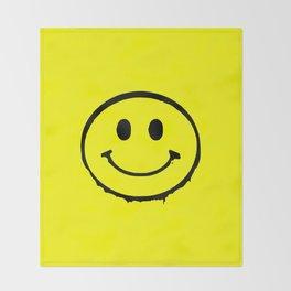 smiley face rave music logo Throw Blanket