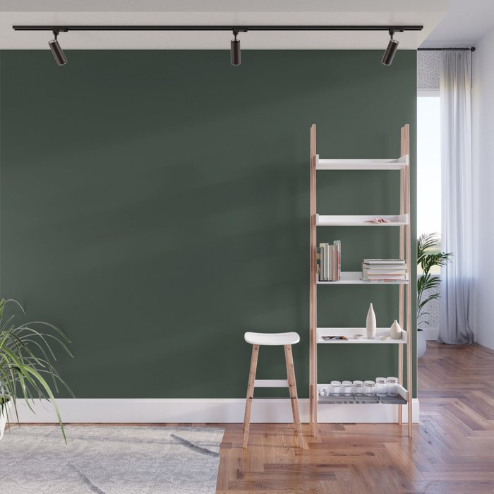 Sherwin Williams Trending Colors Of 2019 Dark Hunter Green Sw 0041 Solid Color Wall Mural