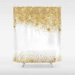Sparkling golden glitter confetti effect Shower Curtain