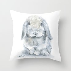 Mini Lop Gray Rabbit Watercolor Painting Throw Pillow
