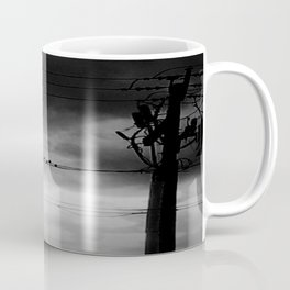 Black and White Birds on a Wire Coffee Mug