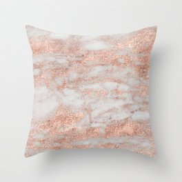 Martino rose gold marble Throw Pillow