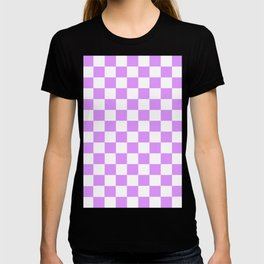 Checkered Pattern White and Pink Very light violet T-shirt
