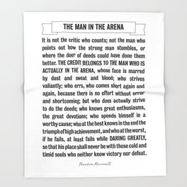 Man in the Arena Quote Theodore Roosevelt Throw Blanket