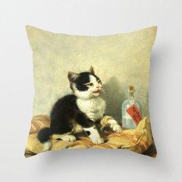 cute kitten 1- Julius Adam - the little patient -1885- pet,whikers,cat,kitty,kitten Throw Pillow