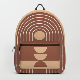 Geometric Lines in Terracotta and Beige 33 (Rainbow Sun Acstraction) Backpack
