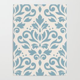 Scroll Damask Large Pattern Blue on Cream Poster