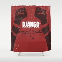Django Unchained, Quentin Tarantino, minimalist movie poster, Leonardo DiCaprio, spaghetti western Shower Curtain