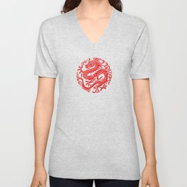 Traditional Red Chinese Dragon Circle Unisex V-Neck