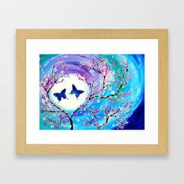 Butterflies with aqua, blue, green and purple Framed Art Print