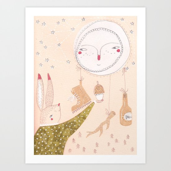 The moon collects Art Print