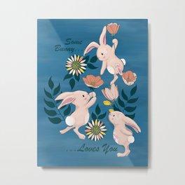 Spring Bunnies and Blooms Metal Print