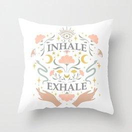 Breathe, inhale exhale yogi zen master poster white Throw Pillow